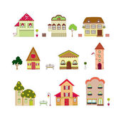 Cartoon isolated houses — Stock Vector
