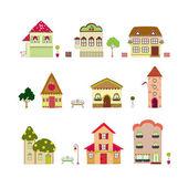 Izole karikatür evleri — Stok Vektör