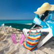 Deckchair with sun accessories on Caribbebeach — Stock Photo #10484268
