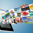Multimedia streaming of the tablet screen — Stock Photo