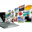 Stock Photo: Multimedistreaming from laptop screen