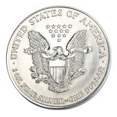 Silver one dollar coin — Stock Photo