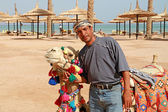Bedouin and his camel — Stockfoto
