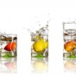 Drinks with splashing citrus fruits — Stock Photo #8165813