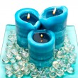 Blue spa candles — Stock Photo