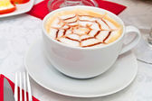 Coffee cappuccino in white cup — Stock Photo