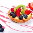 Custard tart with fresh fruits - Stock Photo