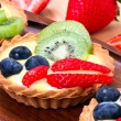 Stock Photo: Custard tart with fresh fruits