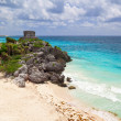 Mayan ruins temple on the beach — Stock Photo #8591041