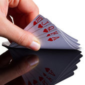 Royal poker in hand — Stock Photo