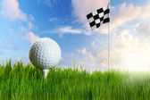 Golf ball on the tee with flag — Stok fotoğraf