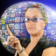 Woman inside virtual world — Stock Photo