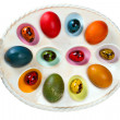 Colorful Easter egg tray — Stock Photo