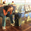 Awaiting for plane with delay - Stock Photo