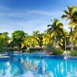 Tropical swimming pool at sunrise — Stock Photo #9857450