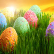 Stock Photo: Colorful Easter eggs decorated