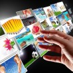 Hand reaching streaming multimedia — Stock Photo