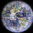 Earth with a global network — Stock Photo