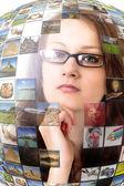 Woman inside virtual multimedia — Stock Photo