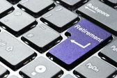 Purple retirement button — Stock Photo