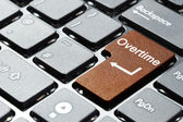 Brown overtime button — Stock Photo