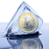 Euro coin frozen — Stock Photo