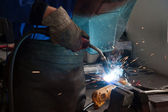 Welding steel and sparks — Stock Photo