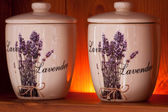 Lavender flowers in a ceramic jar — Stock Photo