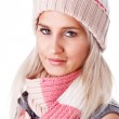 Cheerful woman clothing in warm hat. Winter season. — Stock Photo #9475481