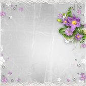 Vintage background with spring flowers, drops, lace — Stockfoto