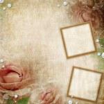 Frames Over Grunge beige wedding background — Stock Photo