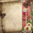 Vintage background with butterfly  and roses for congratulations — Foto Stock