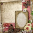 Vintage background with paper frame, butterfly and roses for congratulations and invitations — Stock Photo