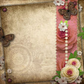Vintage background with butterfly and roses for congratulations — Stock Photo