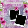 Vintage background with frames for photos, flowers, lace — Stock Photo #7996740