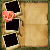 Vintage paper background with elegant three frames and rose — Stock Photo