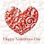 rode valentine hart in floral stijl geïsoleerd op witte achtergrond — Stockfoto