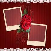 Fondo de rayas rojas con elegantes marcos, rosas para valent — Foto de Stock