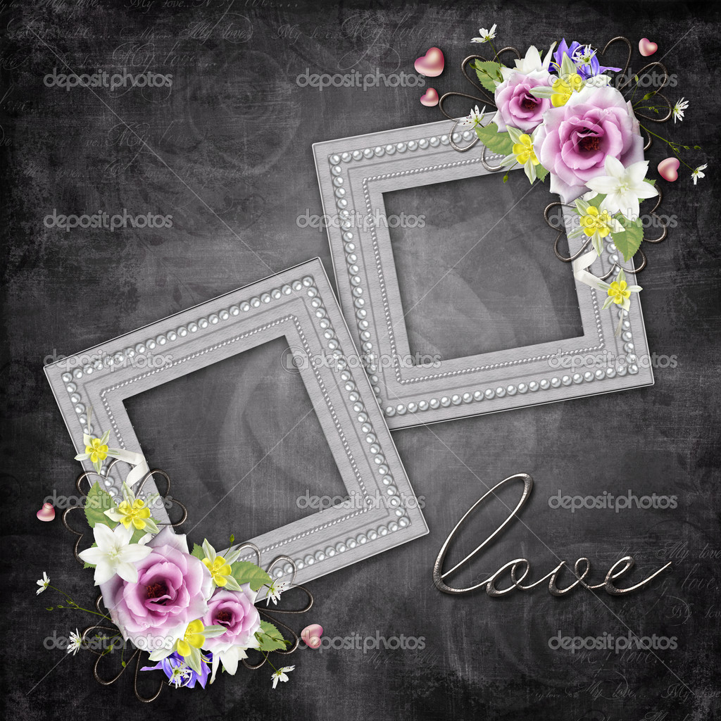 Vintage elegant frames with roses — Stock Photo #8017957