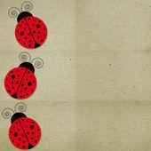 Paper background with ladybugs — Stock Photo
