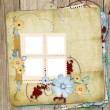 Old shabby style  photoalbum with paper frames for photos — Stock Photo
