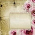 kort för gratulationen eller inbjudan med rosor — Stockfoto