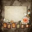Vintage background with  paper  frame and flowers - Stock Photo