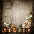 Stock Photo: Vintage background with frame and flowers