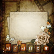 Vintage background with  paper  frame and flowers — Stock Photo