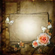 Vintage background with  paper  frame and flowers — Foto Stock