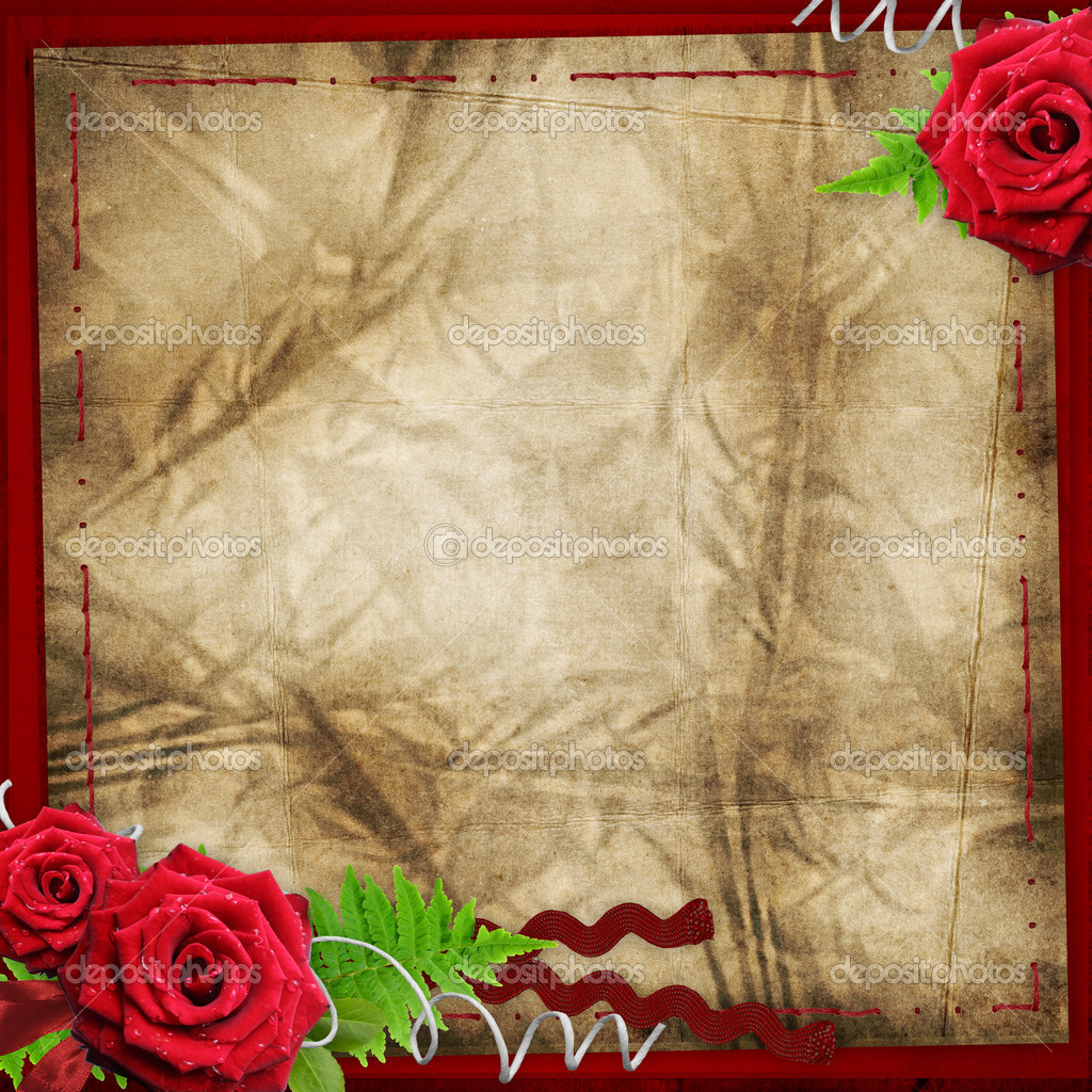 Valentine background with roses, leaves, lamp — Stock Photo #8302356