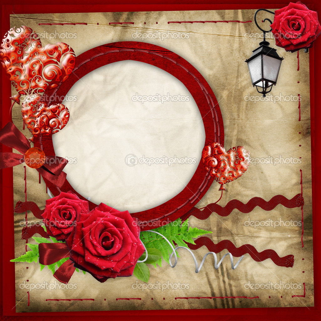 Valentine frame with hearts and roses — Stock Photo #8302365