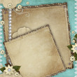 Vintage card for the holiday with frames, flowers on the abstrac — Stock Photo