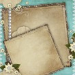 Vintage card for the holiday with frames, flowers on the abstrac — Stock Photo #8378840